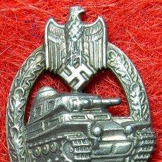 Militaria: HEER PLACA DE ASALTO PANZER. PANZERKAMPFABZEICHEN. TANK BADGE. VERSION PLATA. 63 X 40 MM.. Lote 99083607