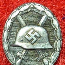 Militaria: PLACA DE HERIDO. WOUMD BADGE. VERWUNDETENABZEICHEN VERSION PLATA. VERSIÓN 1939. MEDIDAS: 45 X 35 MM. Lote 103874528