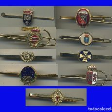 Militaria: JUEGO DE 9 PASADORES DE CORBATA MILITARES DISTINTOS PASADOR ALFILER EJERCITO. Lote 99320863