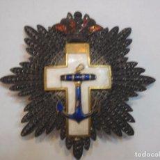 Militaria: PLACA DE 2 CLASE AL MERITO NAVAL DISTINTIVO BLANCO, MODELO EPOCA ALFONSO XIII EN PLATA. Lote 194587813