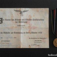 Militaria: MEDALLA ALEMANA DE LA CAMPAÑA DE LOS SUDETES ALEMANES CON DIPLOMA III REICH ALEMÁN II GUERRA MUNDIAL. Lote 104288091