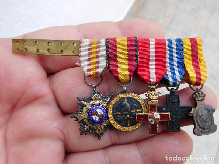 PASADOR CON MEDALLAS EN MINIATURA GUERRA CIVIL Y ANTERIOR (Militar - Medallas Españolas Originales )
