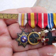 Militaria: PASADOR CON MEDALLAS EN MINIATURA GUERRA CIVIL Y ANTERIOR. Lote 105264799