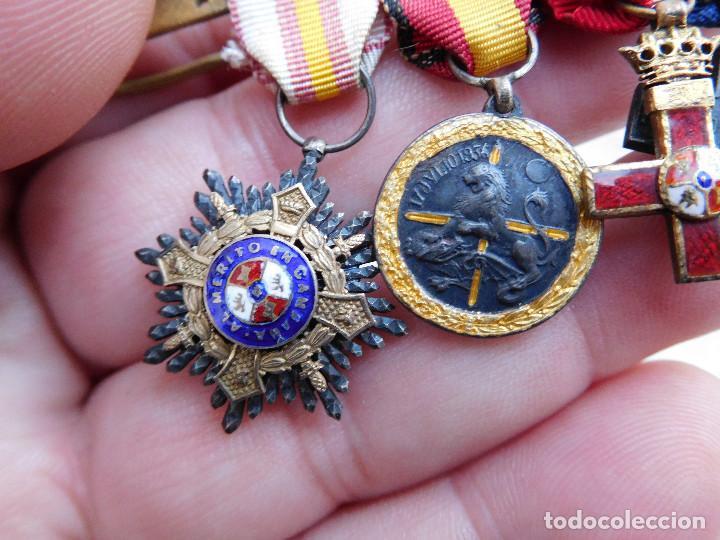 Militaria: Pasador con medallas en miniatura guerra civil y anterior - Foto 2 - 105264799