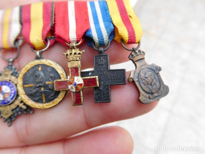 Militaria: Pasador con medallas en miniatura guerra civil y anterior - Foto 3 - 105264799