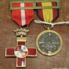 Militaria: DOBLE PASADOR MEDALLA CRUZ ROJA MERITO MILITAR Y MEDALLA DE LA CAMPAÑA. Lote 105446955