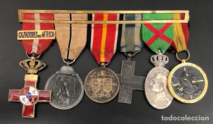 PASADOR DE MEDALLAS VETERANO MARRUECOS, GUERRA CIVIL Y DIVISIÓN AZUL. (Militar - Medallas Españolas Originales )