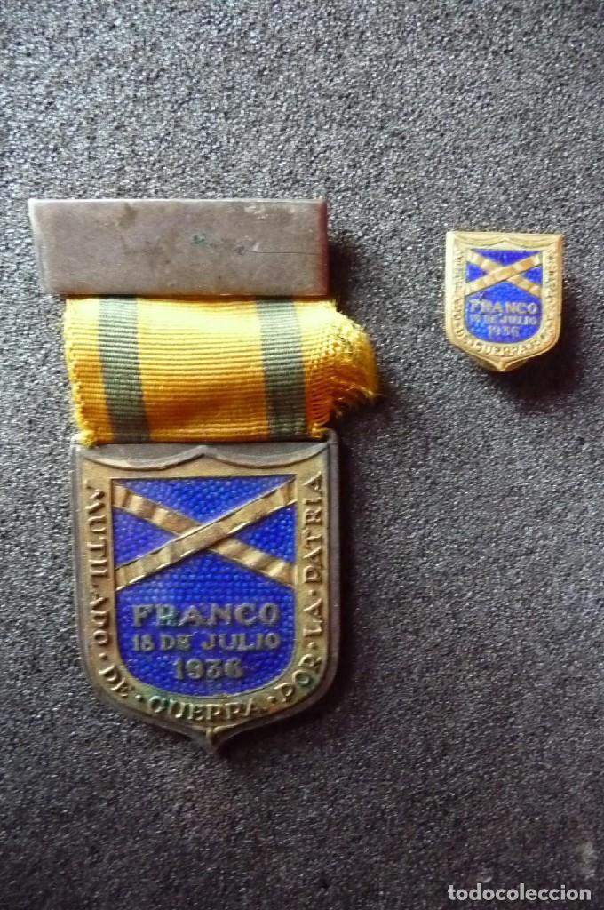 (JX-171251)MEDALLA E INSIGNIA DE OJAL DE MUTILADOS DE GUERRA POR ESPAÑA , FRANCO 18 DE JULIO DE 1936 (Militar - Medallas Españolas Originales )