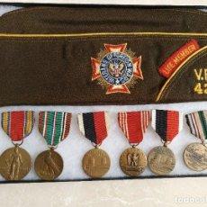 Militaria: LOTE DE MEDALLAS Y GORRO DE VETERANO DE LA 2ª GUERRA MUNDIAL DEL EJERCITO EE.UU.. Lote 108300059