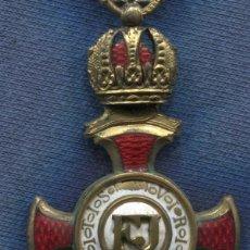 Militaria: AUSTRIA. CRUZ AL MÉRITO. CINTA PARA NO-COMBATIENTES. PLATA. FRANCISCO JOSÉ I. CON CORONA.. Lote 109366347