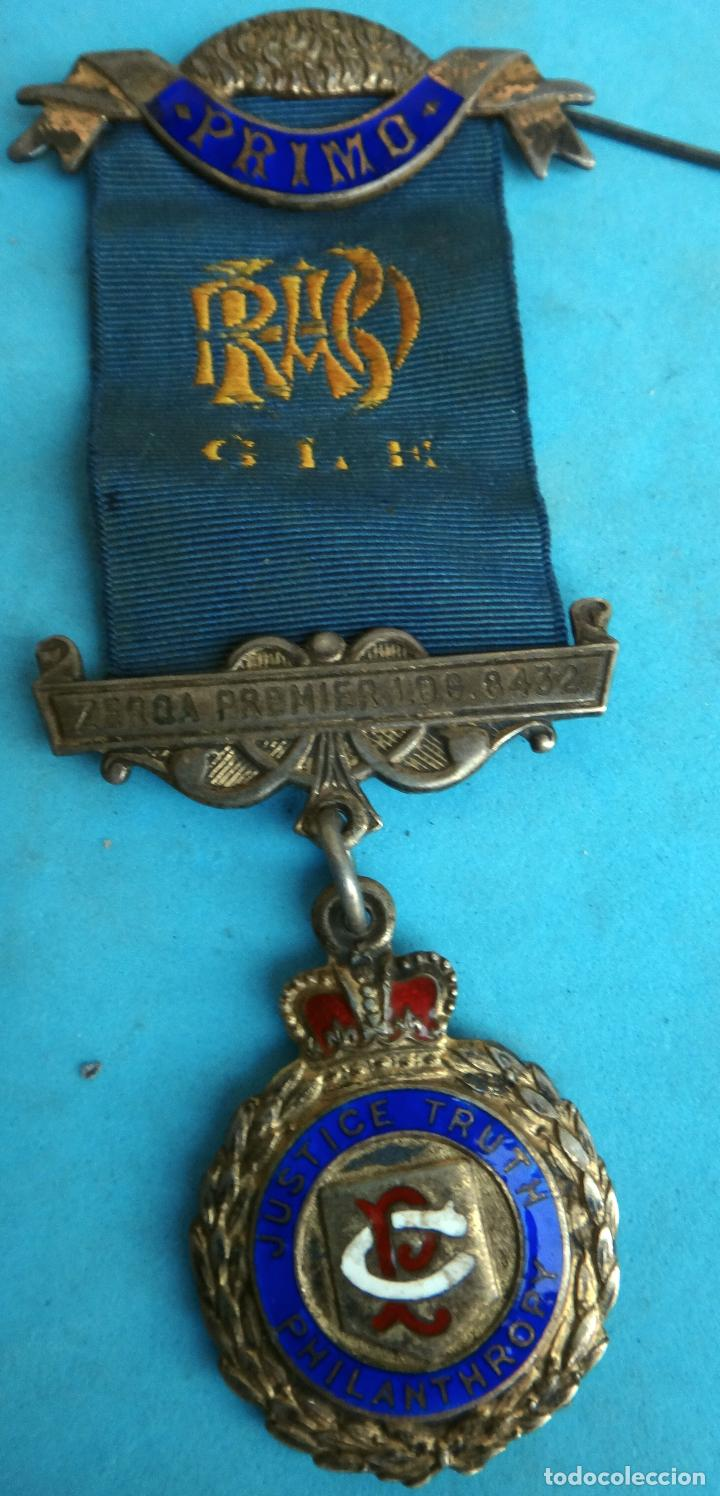 MEDALLA MASONICA MASONERIA MASON ,LOGIA ZERQA PREMIER, PHILANTHROPY ESMALTE ,ORIGINAL ,B8 (Militar - Medallas Internacionales Originales)