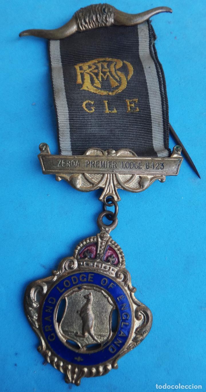 MEDALLA MASONICA MASONERIA MASON , LOGIA CERQA PREMIER , INGLATERRA , 1952 , ESMALTE ,ORIGINAL ,B8 (Militar - Medallas Internacionales Originales)