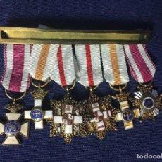 Militaria: PASADOR MEDALLA MILITAR MINIATURA 6 MEDALLAS SAN HERMENEGILDO MÉRITO BLANCO GUERRA CIVIL FRANCO. Lote 111401343
