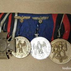 Militaria: WWII. ALEMANIA. PASADOR 4 MEDALLAS. 4 Y 12 AÑOS SERVICIO WEHRMACHT, SUDETES Y HINDENBURG. Lote 112319135