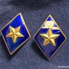 Militaria: INSIGNIAS CUELLO ROMBOS ESMALTE AZUL ESTRELLA FRANCO 5X3,5CMS. Lote 112794235