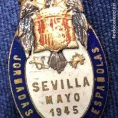 Militaria: INSIGNIA MEDALLA MILITAR SOLAPA ESMALTADA JORNADAS MEDICAS ESPAÑOLAS SEVILLA MAYO 1945 28X15MM. Lote 112795423