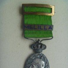 Militaria: GUERRA DE AFRICA : MEDALLA DE LA CAMPAÑA DE OFICIAL ( BAÑADA EN PLATA ) . PASADOR MELILLA . Lote 114533515