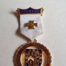 Militaria: GB UK ANTIGUA MEDALLA ROYAL MASONIC INSTITUTION FOR GIRLS 1969 STEWARD. Lote 114973127