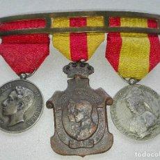 Militaria: PASADOR TRES MEDALLAS. ALFONSO XIII. Lote 115488575