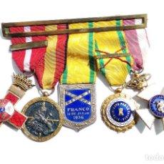 Militaria: PASADOR DE MEDALLAS - ACCIÓN HERIDO EN VILLAREAL 1937 GUERRA CIVIL, MÉRITO ROJO, MUTILADO DE GUERRA. Lote 115918111