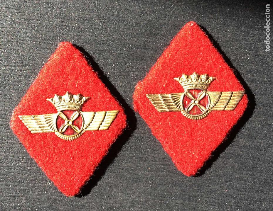 PAREJA DE ROMBOS AVIACIÓN TELA (Militar - Medallas Españolas Originales )