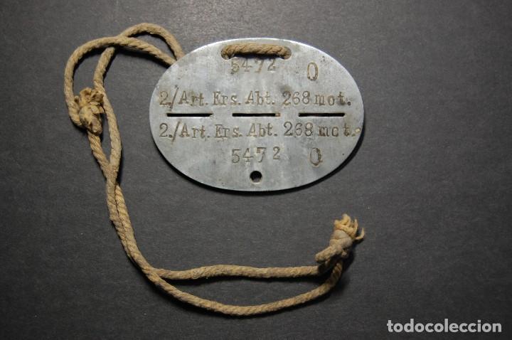 CHAPA DE IDENTIFICACION Y CUERDA ORIGINAL DE MIEMBRO DE LA ARTILLERIA MOTORIZADA.2ª GUERRA MUNDIAL (Militar - Medallas Extranjeras Originales)