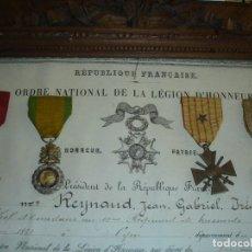 Militaria: TITULO DE CONCESION DE LEGION DE HONOR A UN HEROE DE LA PRIMERA GUERRA MUNDIAL . Lote 119396091