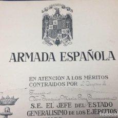 Militaria: CAPITAN FRAGATA JOAQUIN MARIA PERY CRUZ MERITO NAVAL SEGUNDA CLASE DISTINTIVO BLANCO PENSIONADA 1947. Lote 122219919