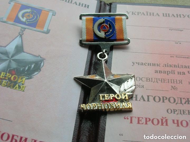 Militaria: ORDEN UCRANIANA AL HEROISMO EN CHERNOBYL. PROTECCIÓN CIVIL. AL HEROE DE CHERNOBYL. RARA. - Foto 6 - 186337025