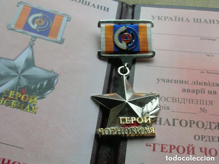 Militaria: ORDEN UCRANIANA AL HEROISMO EN CHERNOBYL. PROTECCIÓN CIVIL. AL HEROE DE CHERNOBYL. RARA. - Foto 12 - 186337025