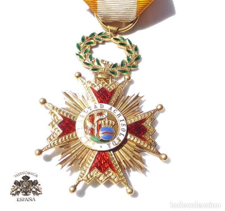 MEDALLA REAL ORDEN DE ISABEL LA CATÓLICA EN ORO DE 18 KILATES.- ISABEL II. (Militar - Medallas Españolas Originales )