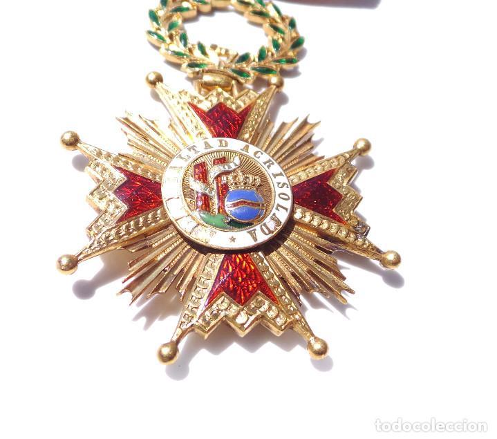 Militaria: MEDALLA REAL ORDEN DE ISABEL LA CATÓLICA EN ORO DE 18 KILATES.- ISABEL II. - Foto 5 - 127871703