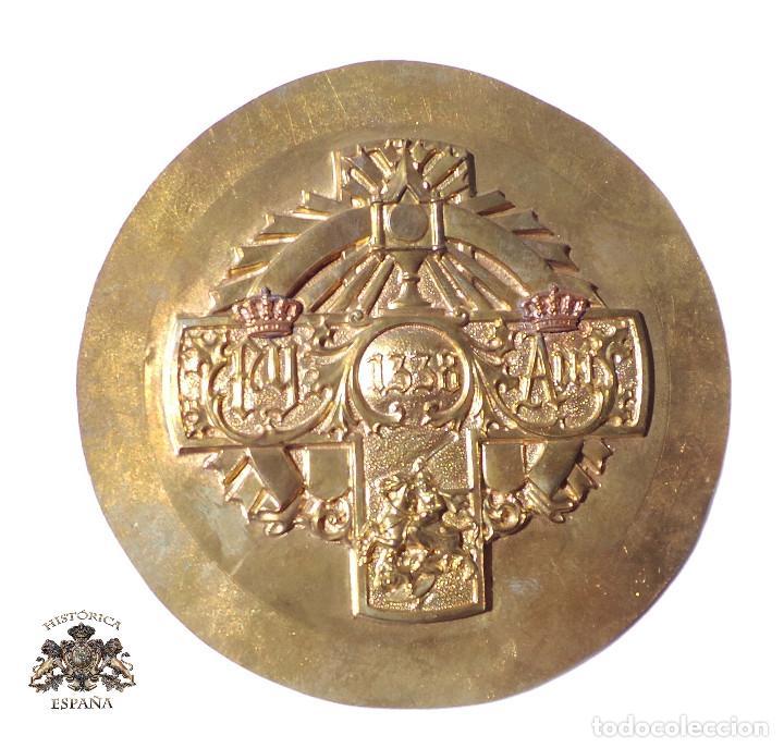 PLANTILLA ORIGINAL PARA HACER TROQUEL DE MEDALLA.- ISABEL Y FERNANDO - ALFONSO XII - 12 CM DIÁMETRO (Militar - Medallas Españolas Originales )