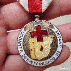 Militaria: MEDALLA DONANTE DESINTERESADO DE SANGRE ESMALTADA. Lote 128647463