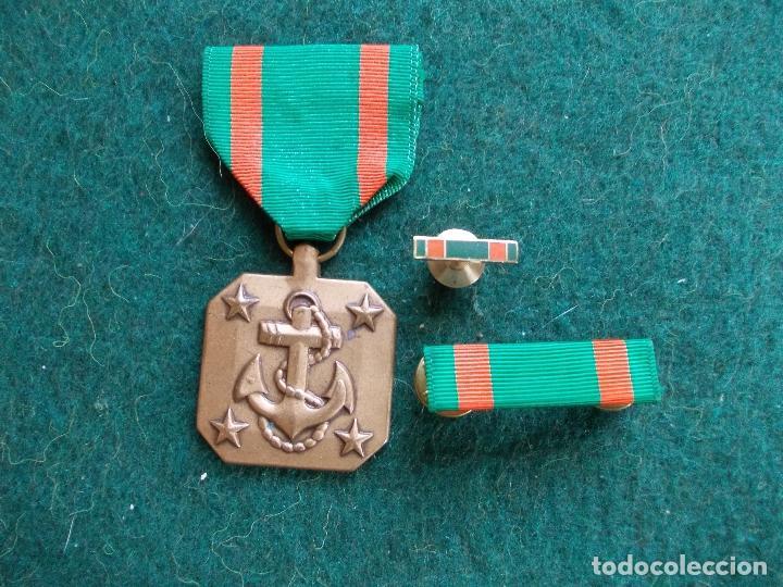 MEDALLA ,MINIATURA Y PASADOR US NAVY MARINES AL MÉRITO (Militar - Medallas Internacionales Originales)
