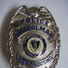Militaria: PLACA AMERICANA REPRODUCION POLICE PATROLMAN MASSACHUSETTE (#). Lote 131114568