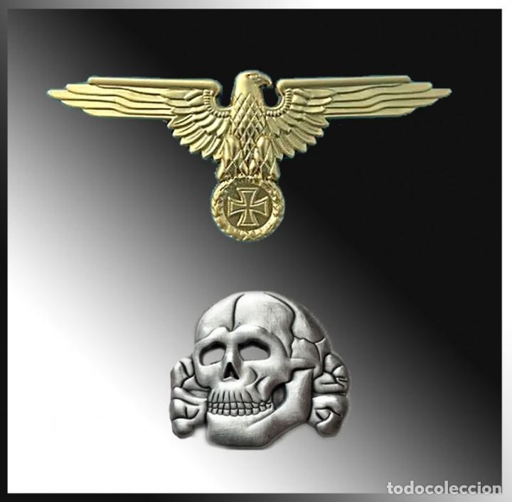 LOTE. ÁGUILA Y CALAVERA SS PARA GORRAS - REPRODUCCIÓN (Militar - Reproducciones y Réplicas de Medallas )