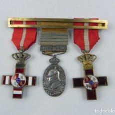 Militaria: PASADOR CON CRUZ DE LA ORDEN DEL MÉRITO MILITAR DISTINTIVO ROJO PENSIONADA, CAMPAÑA DEL RIF CON PASA. Lote 132533542