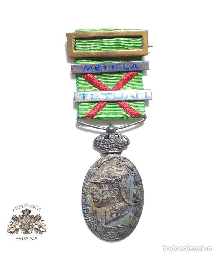 MEDALLA CAMPAÑA EN ÁFRICA - MARRUECOS - PASADOR TETUAN Y MELILLA ESMALTADOS (Militar - Medallas Españolas Originales )