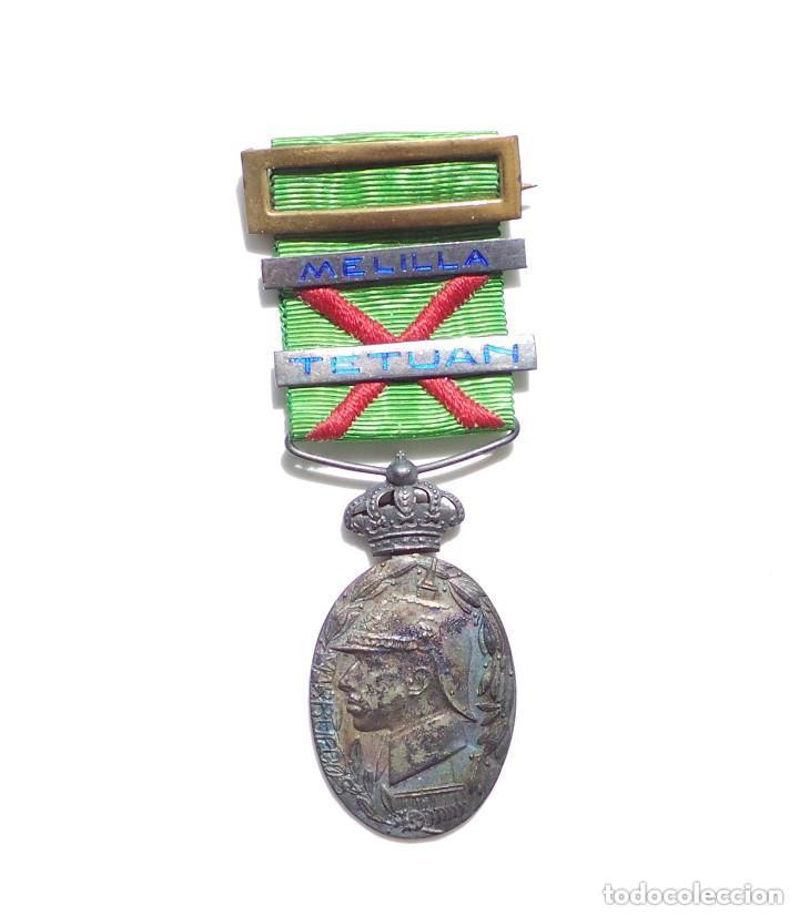 Militaria: MEDALLA CAMPAÑA EN ÁFRICA - MARRUECOS - PASADOR TETUAN Y MELILLA ESMALTADOS - Foto 3 - 132688078