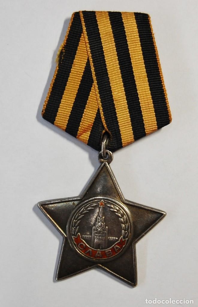 MEDALLA DE PLATA MACIZA RUSA ORDEN DE LA GLORIA DE 3ª CLASE.SEGUNDA GUERRA MUNDIAL. (Militar - Medallas Extranjeras Originales)