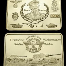 Militaria: LINGOTE ORO 24K ALEMANIA DE ERWIN ROMMEL FIRMADO DEUTSCHE WEHRMACHT EDICION LIMITADA Y NUMERADA. Lote 133480518