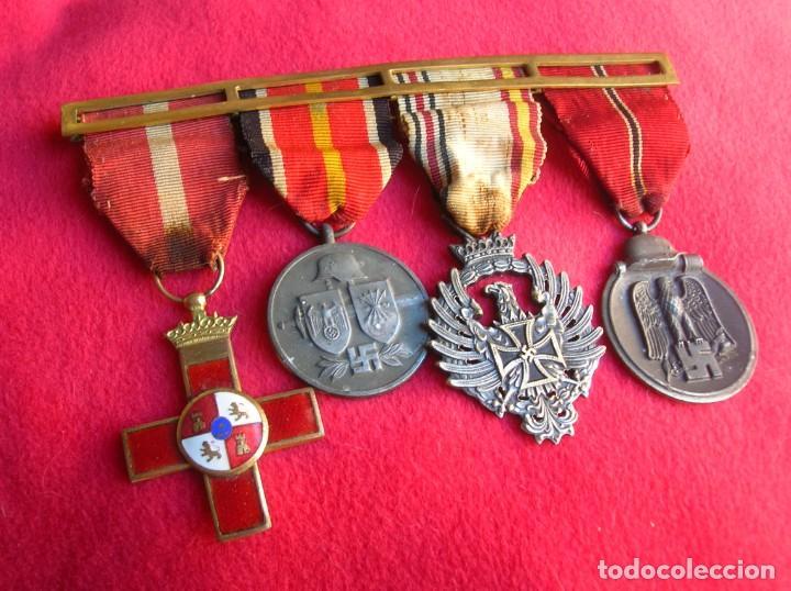 BELLO PASADOR DE MEDALLAS DE UN DIVISIONARIO. DIVISION AZUL. RUSIA 1941-1943. (Militar - Medallas Españolas Originales )