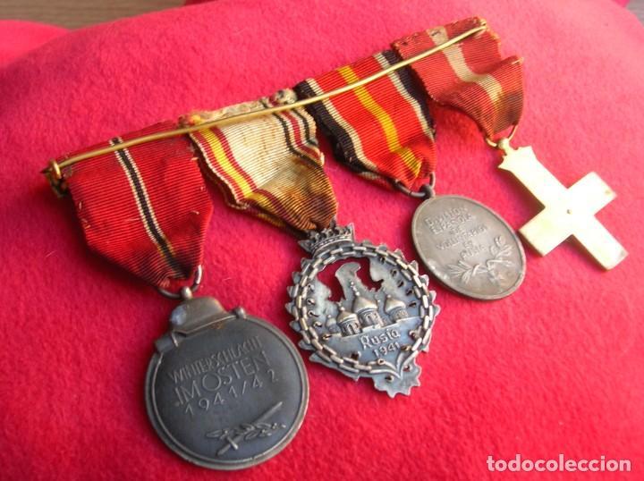 Militaria: BELLO PASADOR DE MEDALLAS DE UN DIVISIONARIO. DIVISION AZUL. RUSIA 1941-1943. - Foto 2 - 134750902