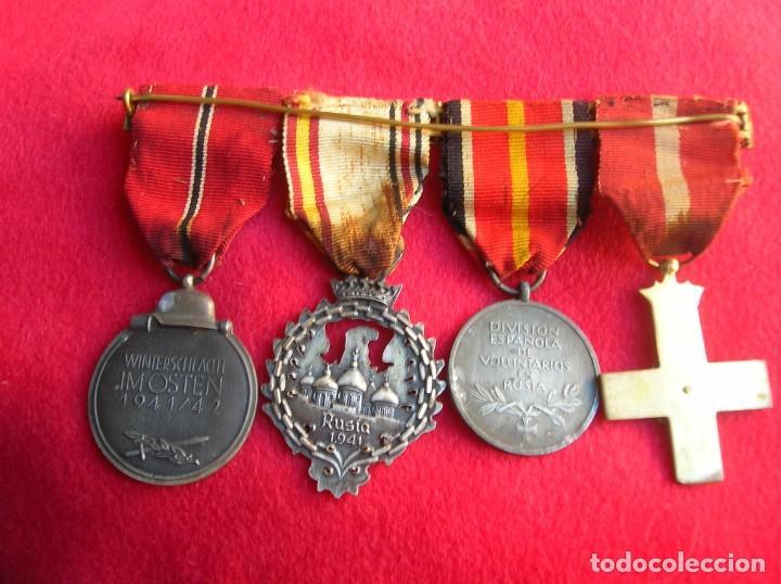 Militaria: BELLO PASADOR DE MEDALLAS DE UN DIVISIONARIO. DIVISION AZUL. RUSIA 1941-1943. - Foto 16 - 134750902