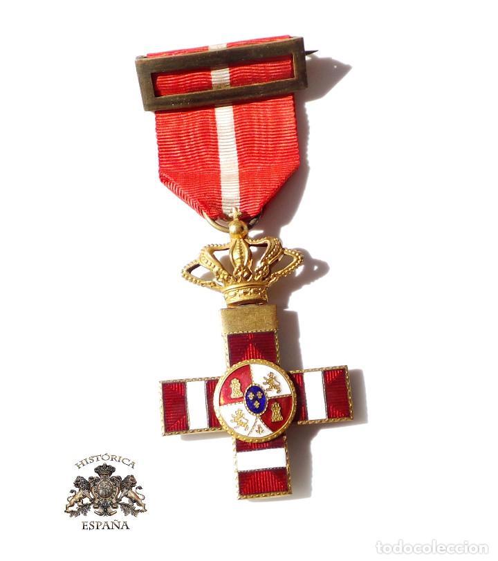 MEDALLA MÉRITO MILITAR DISTINTIVO ROJO PENSIONADO ALFONSO XIII (Militar - Medallas Españolas Originales )