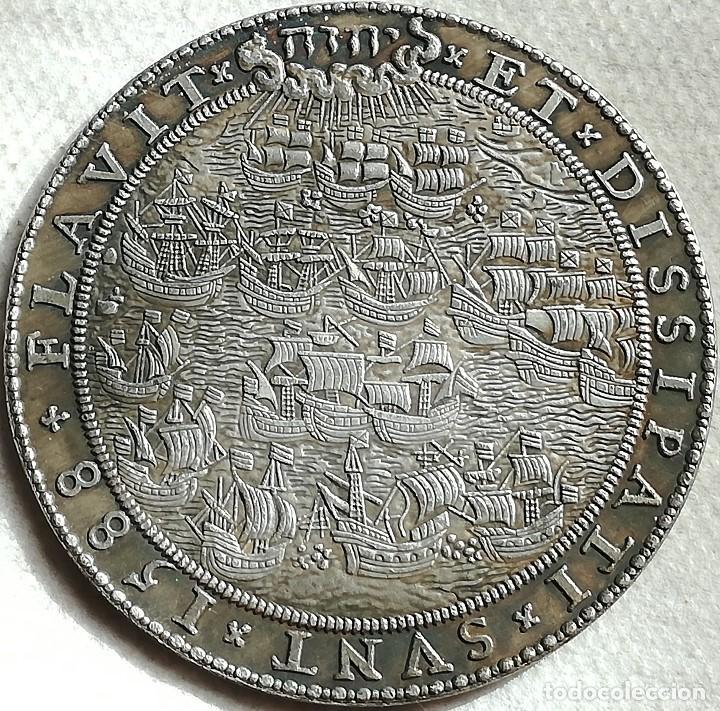 RÉPLICA MEDALLA HOLANDA. ARMADA INVENCIBLE, REY FELIPE II, ESPAÑA. 1588 (Militar - Reproducciones y Réplicas de Medallas )