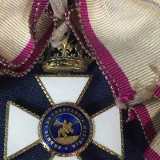 Militaria: PREMIO A CONSTANCIA MILITAR SAN HERMENEGILDO EPOCA FRANCO PLATA DORADA BANDA CINTA SEDA VER FOTOS. Lote 136125146