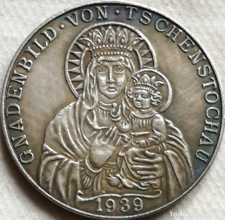 RÉPLICA MEDALLA VIRGEN MARÍA Y NIÑO JESUS DE CZESTOCHOWA. ALEMANIA. PRE II GUERRA MUNDIAL. 1939 (Militar - Reproducciones y Réplicas de Medallas )