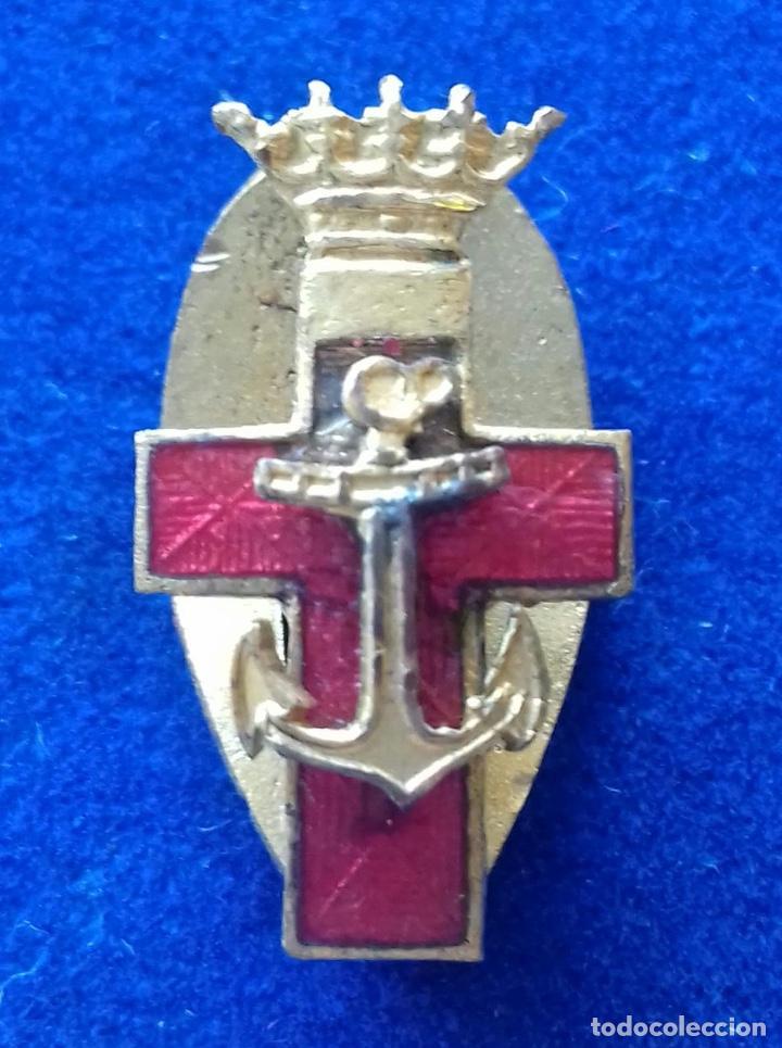MINIATURA DE OJAL DEL MERITO NAVAL DISTINTIVO ROJO - EPOCA DE FRANCO (Militar - Medallas Españolas Originales )